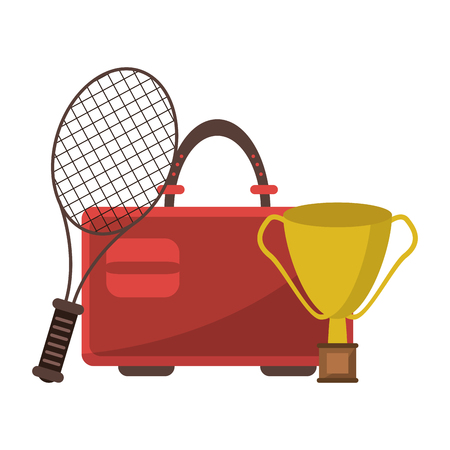 tennis racket and suitcase with trophy cup vector illustration graphic design  イラスト・ベクター素材