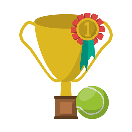 tennis trophy cup ball and medal vector illustration graphic design  イラスト・ベクター素材