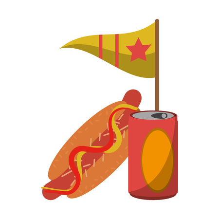 hot dog soda cup with flag vector illustration graphic design