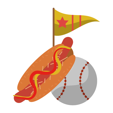 baseball ball hot dog and flag with star vector illustration graphic design