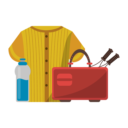 baseball shirt suitcase and water bottle vector illustration graphic design