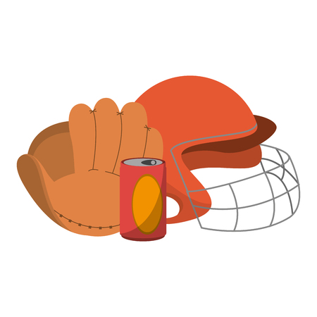 baseball glove helmet and soda can vector illustration graphic design