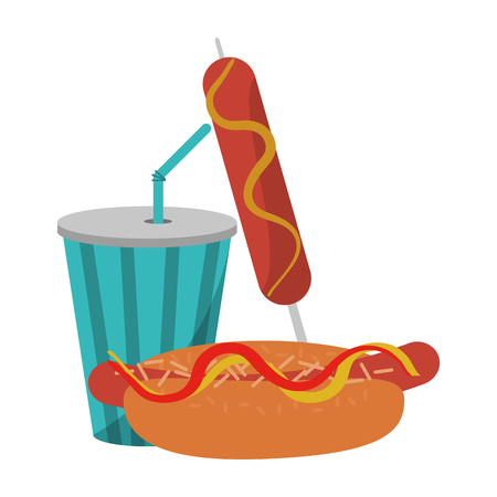 hot dog sausage and soda cup vector illustration graphic design