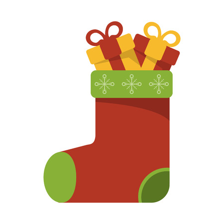 christmas santa sock with gift boxes vector illustration graphic design