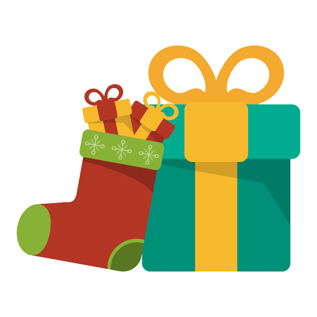 Christmas season boot with gift boxes cartoons vector illustration graphic design