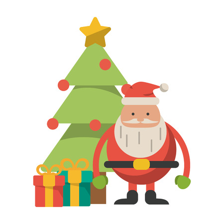 Christmas season santa claus with tree and gift boxes cartoons vector illustration graphic design Stockfoto - 124960328