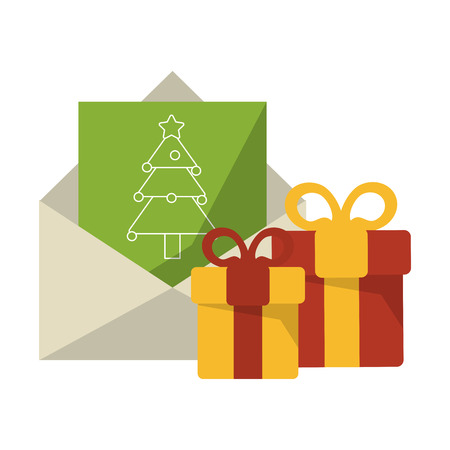Christmas season letter and gift boxes cartoons vector illustration graphic design