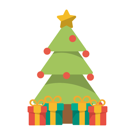 Christmas season tree with gifts cartoons vector illustration graphic design