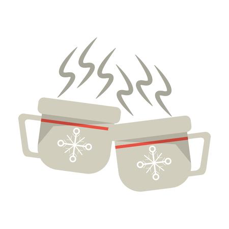 Christmas season hot coffee mugs cartoons vector illustration graphic design