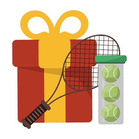 tennis racket and ball with gift box vector illustration graphic design