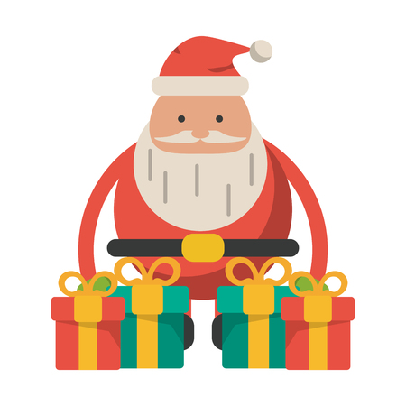 Christmas season santa with gift boxes cartoons vector illustration graphic design Stock Illustratie