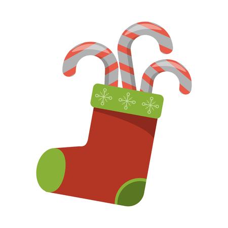 Christmas season santa boot and candies cartoons vector illustration graphic design