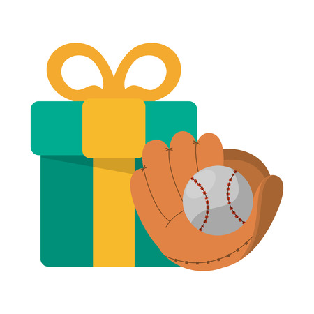 baseball glove and ball with gift box vector illustration graphic design  イラスト・ベクター素材