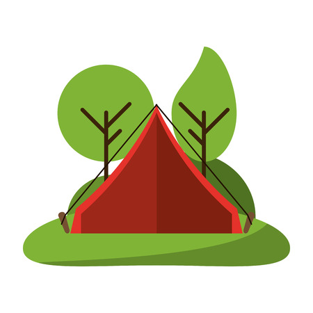 camping tent in nature symbol vector illustration graphic design