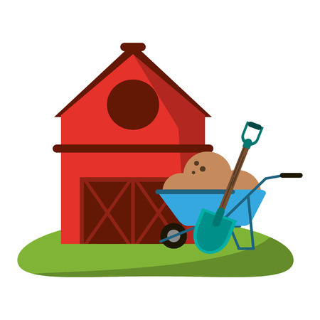 farm house and wheelbarrow with ground and shovel vector illustration graphic design