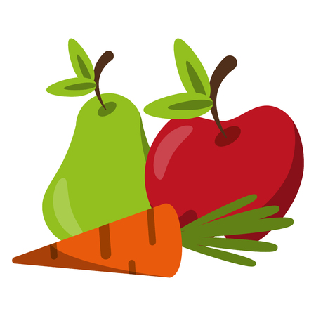 vegetable and fruits pear apple and carrot vector illustration graphic design