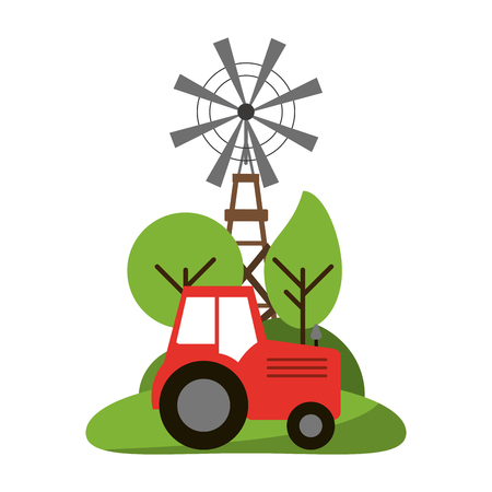 farm tractor and windmill in nature vector illustration graphic design Ilustração