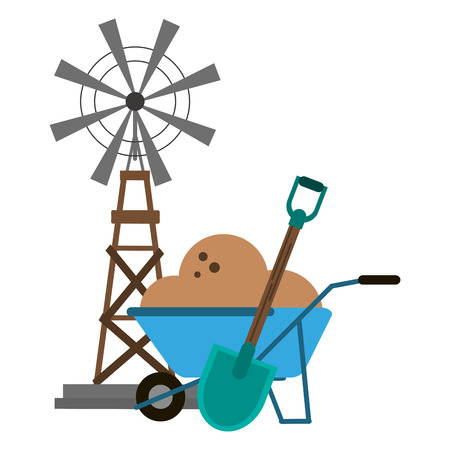 windmill and wheelbarrow with ground vector illustration graphic design Ilustração