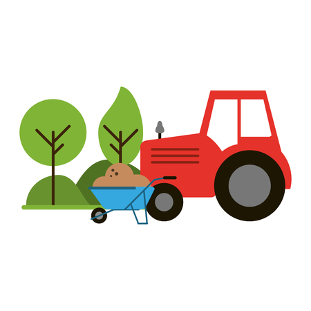 farm tractor and wheelbarrow in nature vector illustration graphic design