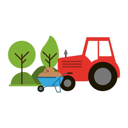Tracteur agricole et brouette dans la nature vector illustration graphic design
