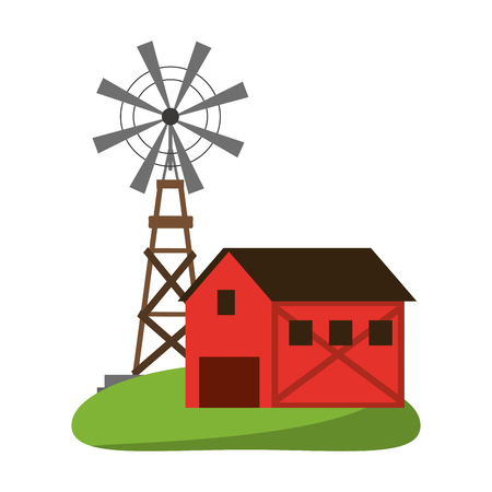 Farm house and windmill symbol vector illustration graphic design