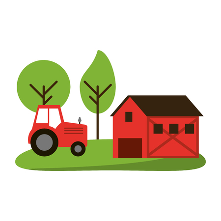 farm house and tractor in nature vector illustration graphic design