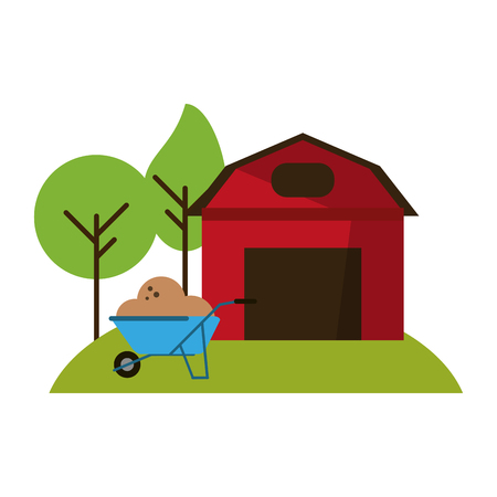 Farm house and wheelbarrow with ground vector illustration graphic design