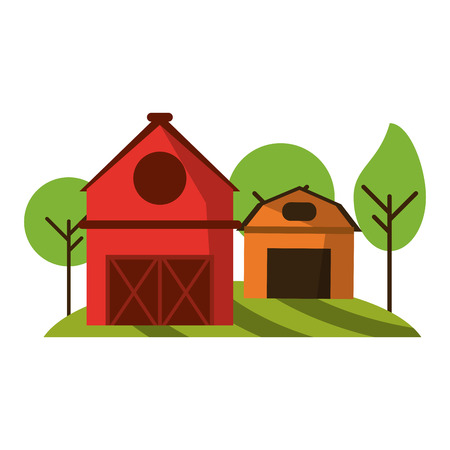 farm house and barn in nature vector illustration graphic design