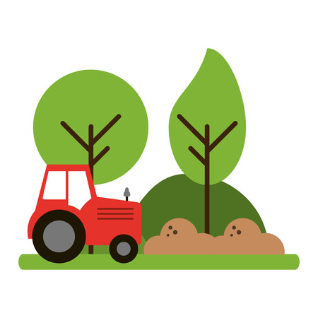 farm tractor riding in harvest vector illustration graphic design