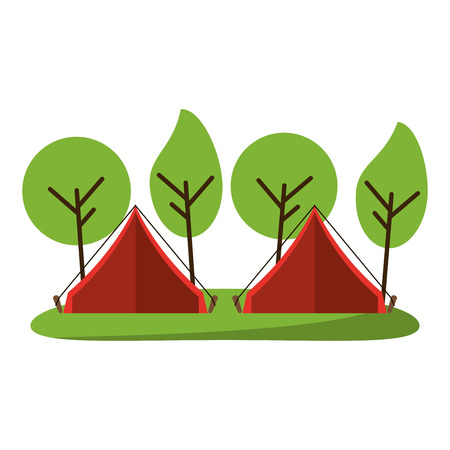 camping tents in forest cartoon vector illustration graphic design 向量圖像