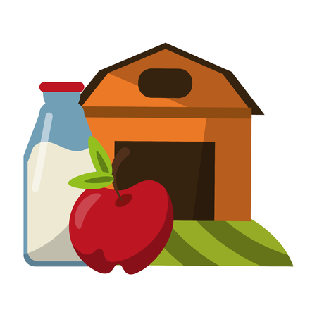 farm house with apple and milk bottle vector illustration graphic design