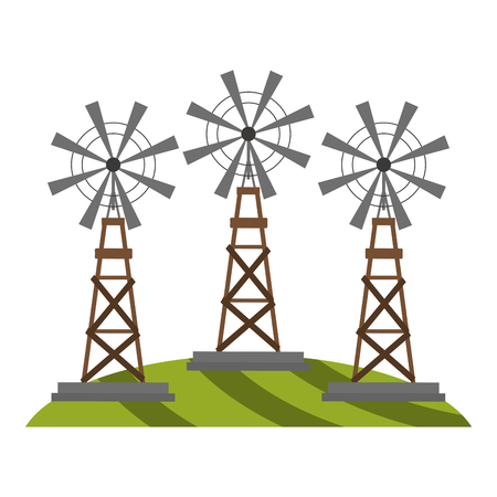 farm windmills on grass vector illustration graphic design Ilustração
