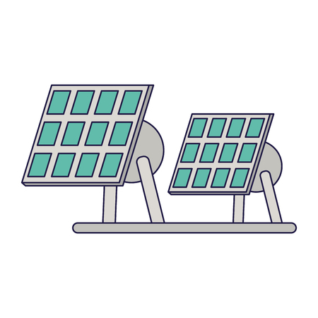 Solar panels electric energy vector illustration graphic design Ilustração