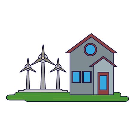 house with wind turbines symbol vector illustration graphic design Ilustração
