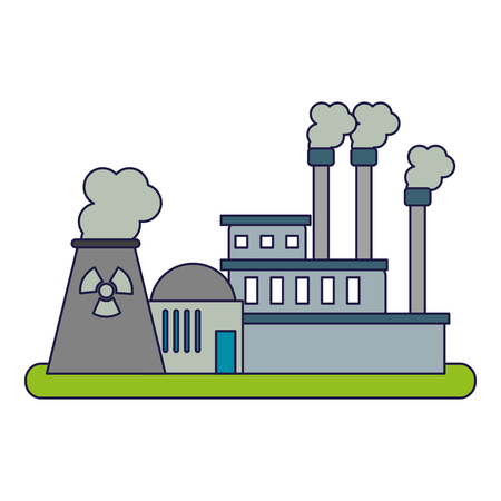 Nuclear industrial plant with pollution vector illustration graphic design