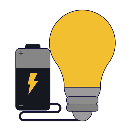 electric battery and bulb light symbol vector illustration graphic design