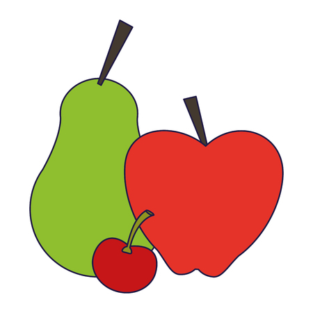 fresh fruits apple pear and cherry cartoon vector illustration graphic design
