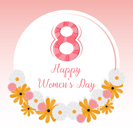 Happy women day card with flowers vector illustration graphic design