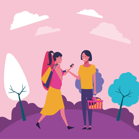 casual people women shopping concept cartoon  walking in the park scenery vector illustration graphic design
