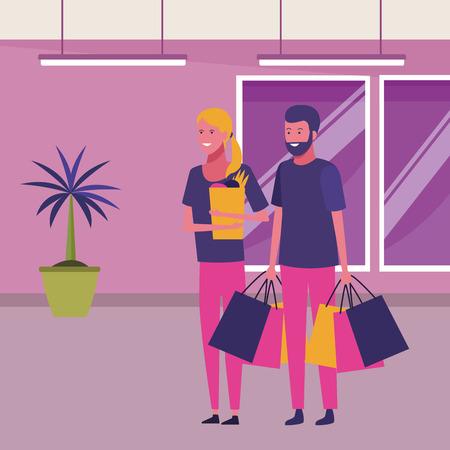 amore coppia shopping concetto cartone animato giovane uomo cartone animato all'interno del centro commerciale scenario interno illustrazione vettoriale graphic design