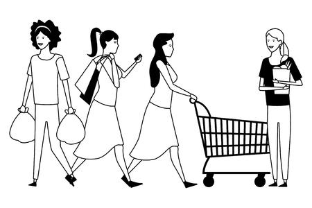 People women shopping cartoon  vector illustration graphic design