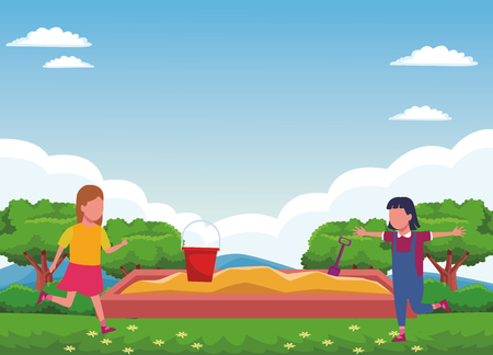 Kids playing with sand box cartoons at nature park scenery vector illustration graphic design