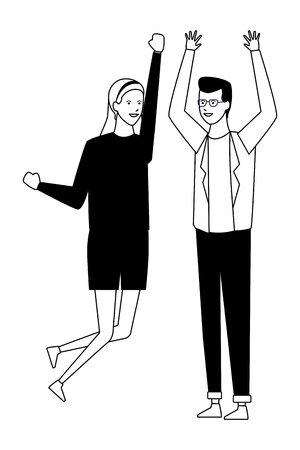 casual outfit couple highfive vector illustration graphic design Illustration