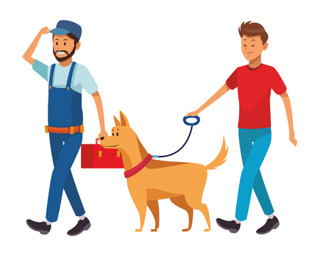 worker and man with dog toolbox vector illustration graphic design 向量圖像