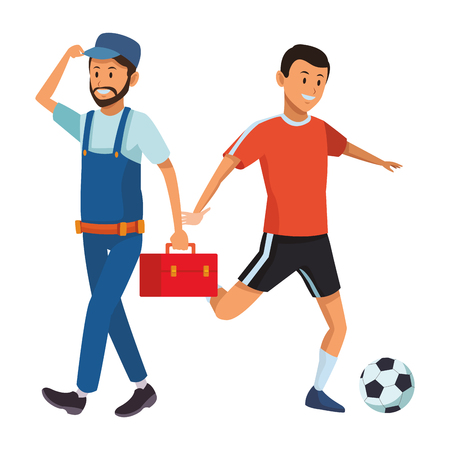 worker and soccer player with toolbox and ball vector illustration graphic design