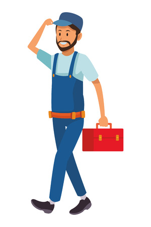 worker with toolbox overall vector illustration graphic design