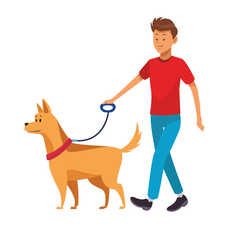 man and dog taking a walk vector illustration graphic design 向量圖像