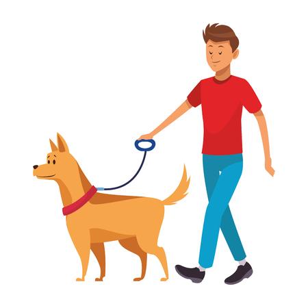 uomo e cane che fanno una passeggiata illustrazione vettoriale graphic design Vettoriali
