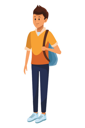 young man with bag student vector illustration graphic design