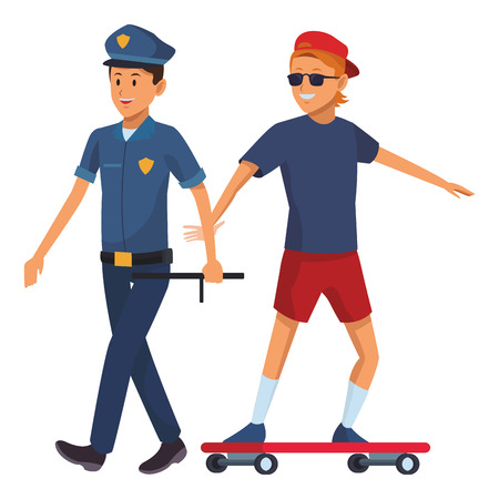 policeman and skateboarder sunglasses and hat vector illustration graphic design 向量圖像